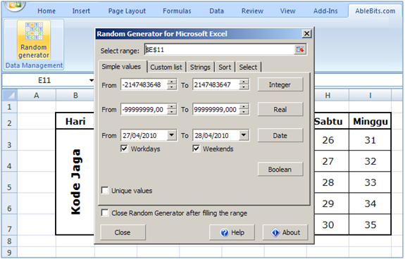 Mengacak Number / Angka di Excel secara otomatis